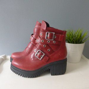 CAT Red Boots One of A Kind Combat Stud Zipper